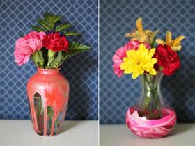 简单玻璃瓶改造精美花瓶的方法