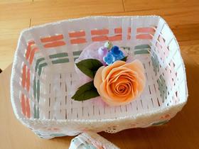 纸藤编织长方形收纳篮子的教程