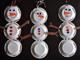 纸盘手工制作雪人挂饰的方法