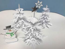 剪纸雪花制作美丽雪花树的方法