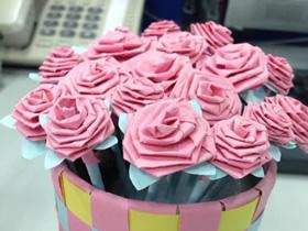 用长纸条折纸玫瑰花的步骤图