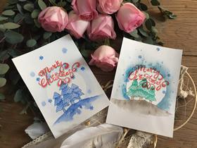 用水彩画做圣诞快乐卡片的方法
