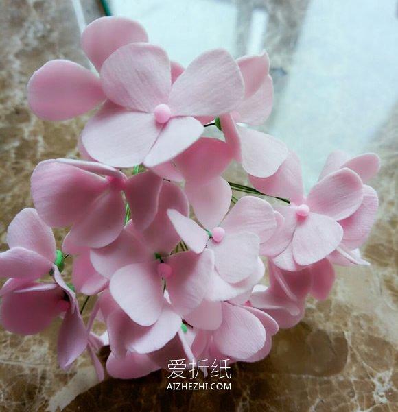 粘土绣球花的制作方法图解- www.aizhezhi.com
