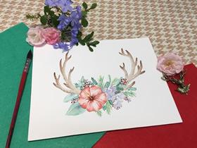 圣诞风鹿角水彩画的制作方法