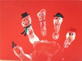 儿童用手掌印做圣诞雪人贺卡的方法