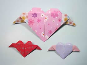 带翅膀爱心折纸步骤图