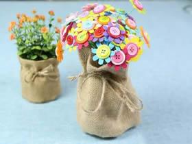 用麻布做森系花盆套的方法