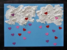 简单的爱心雨情人节卡片制作方法