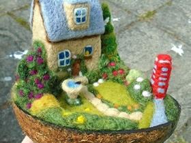 梦幻的羊毛毡小屋装饰摆件欣赏