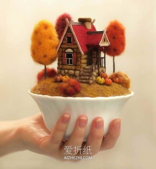 梦幻的羊毛毡小屋装饰摆件欣赏- www.aizhezhi.com