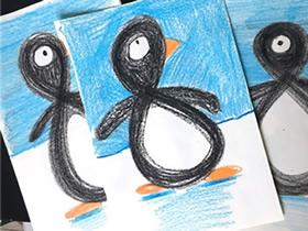 用趣味蜡笔画制作新年企鹅贺卡的方法