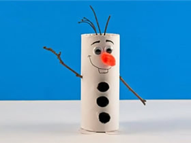 用卫生纸卷做雪宝的方法