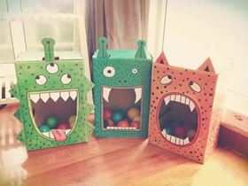 用纸箱做万圣节怪物投球玩具