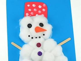 用棉花球做雪人贴画的方法