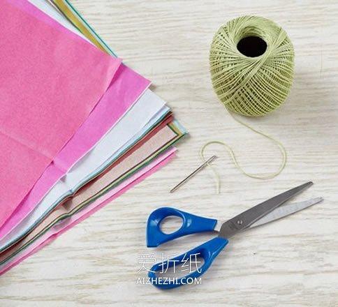 用彩色薄纸做花朵挂饰的方法- www.aizhezhi.com
