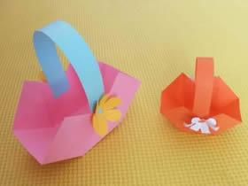 超简单小花篮折纸图解