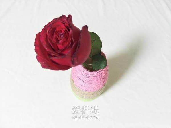 饮料瓶上绕线制作漂亮花瓶- www.aizhezhi.com