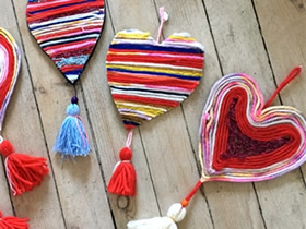 简单情人节爱心挂饰的制作方法