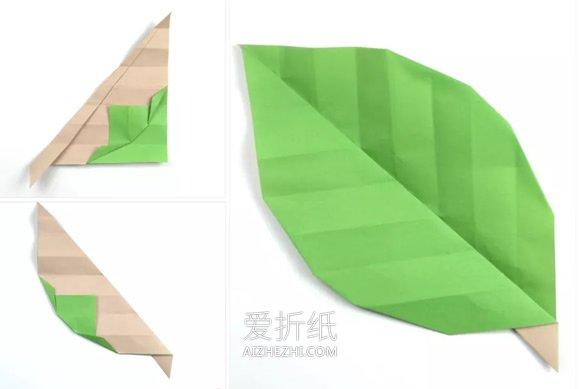 简单叶子折纸方法图解- www.aizhezhi.com