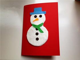 儿童手工制作新年雪人贺卡的方法