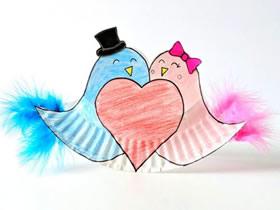 用纸盘做情人节爱情鸟的方法