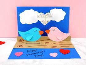 立体情人节爱情鸟贺卡的制作方法