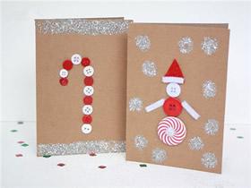 圣诞节雪人和拐杖贺卡的制作方法