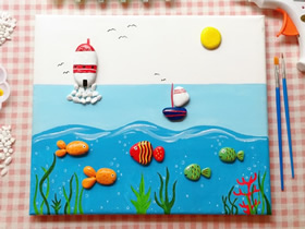 关于大海的石头拼贴画制作方法