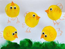 气球印画可爱小鸡的方法