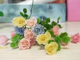逼真粘土玫瑰花的制作方法