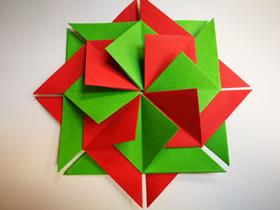 折纸圣诞节一品红花的图解教程