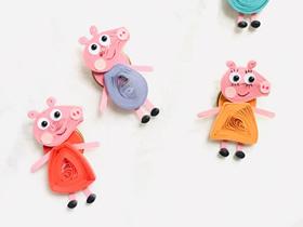 衍纸小猪佩奇胸针的制作方法
