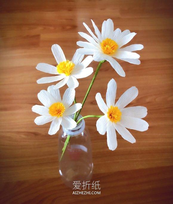 怎么用皱纹纸做小雏菊的教程- www.aizhezhi.com