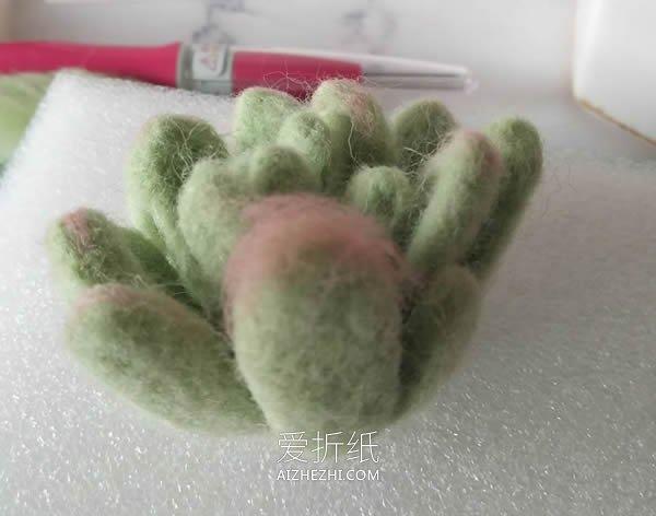 羊毛毡多肉植物盆栽的制作方法- www.aizhezhi.com