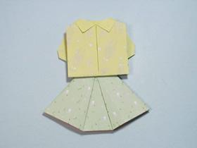 简单折纸上衣和裙子的方法图解