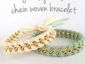 怎么在金属链上编织皮绳手链的方法