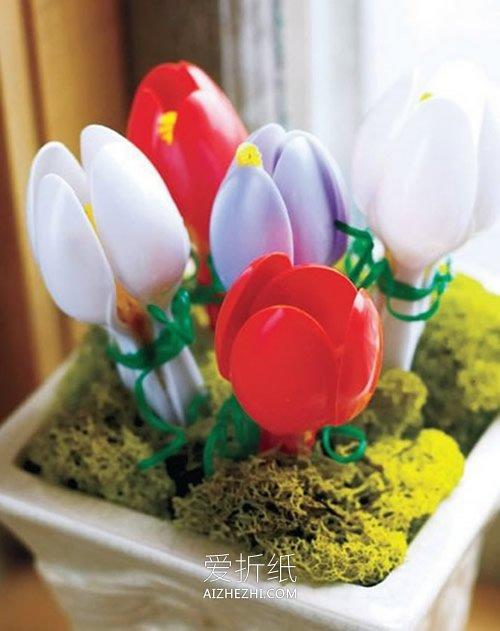 一次性塑料勺子废物利用的手工作品图片- www.aizhezhi.com