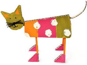 怎么用硬纸板做立体猫的方法