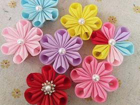怎么用罗纹带做六瓣花的方法教程