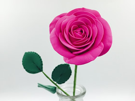 怎么用粘土做玫红色玫瑰花的方法教程