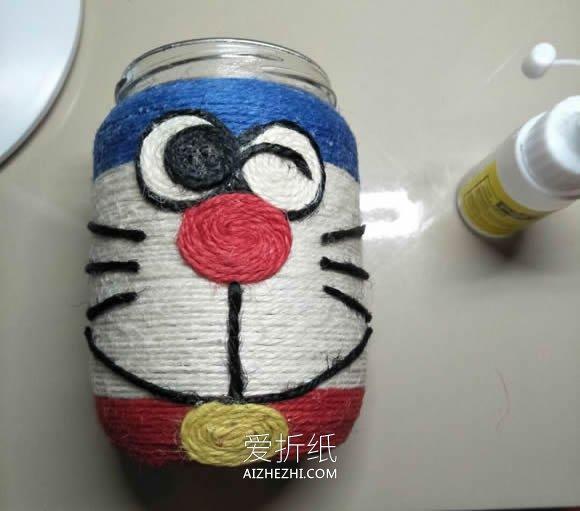 怎么用玻璃罐做哆啦A梦花瓶的方法教程- www.aizhezhi.com