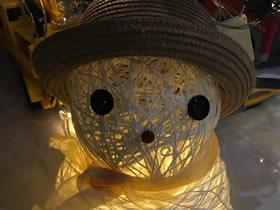 怎么用纱线绕气球做圣诞节雪人灯饰的方法