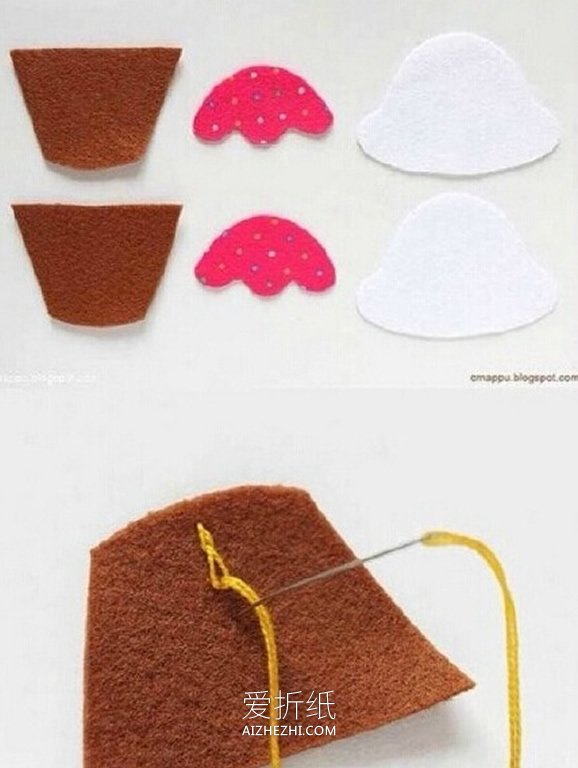 怎么用不织布做冰激凌挂件的方法图解- www.aizhezhi.com