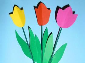 怎么用卡纸做郁金香花的方法最简单