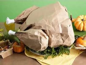 怎么用牛皮纸袋做感恩节烤熟火鸡的方法