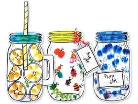 怎么用手指画做可爱玻璃罐工艺品的方法