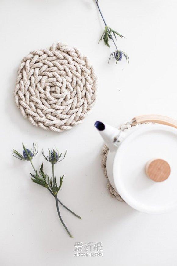 用圆形拼成的动物_怎么用棉绳编织圆形杯垫餐垫的方法教程_爱折纸网