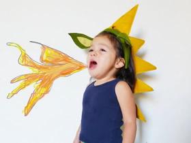怎么用不织布做儿童火龙变身道具的方法