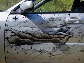 怎么用马克笔画画改造撞凹的车门的方法