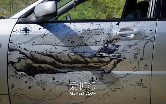 怎么用马克笔画画改造撞凹的车门的方法- www.aizhezhi.com
